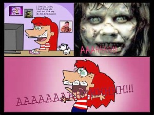 Scary game reaction cartoon image